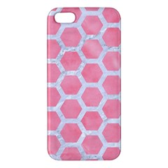 HEXAGON2 WHITE MARBLE & PINK WATERCOLOR Apple iPhone 5 Premium Hardshell Case