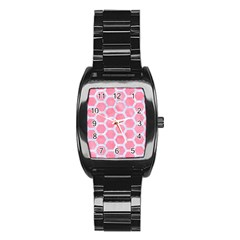 HEXAGON2 WHITE MARBLE & PINK WATERCOLOR Stainless Steel Barrel Watch