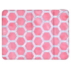 HEXAGON2 WHITE MARBLE & PINK WATERCOLOR Samsung Galaxy Tab 7  P1000 Flip Case