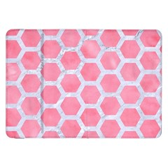 HEXAGON2 WHITE MARBLE & PINK WATERCOLOR Samsung Galaxy Tab 8.9  P7300 Flip Case