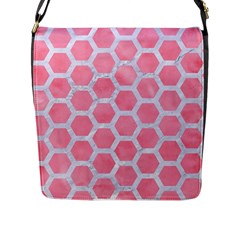 HEXAGON2 WHITE MARBLE & PINK WATERCOLOR Flap Messenger Bag (L)