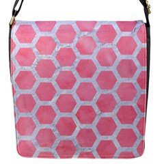 HEXAGON2 WHITE MARBLE & PINK WATERCOLOR Flap Messenger Bag (S)