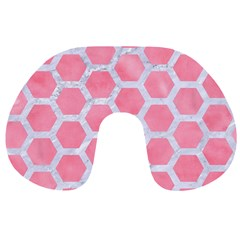 HEXAGON2 WHITE MARBLE & PINK WATERCOLOR Travel Neck Pillows