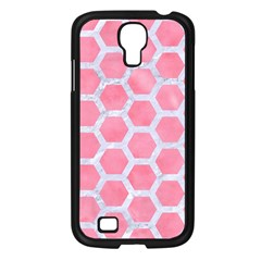 HEXAGON2 WHITE MARBLE & PINK WATERCOLOR Samsung Galaxy S4 I9500/ I9505 Case (Black)