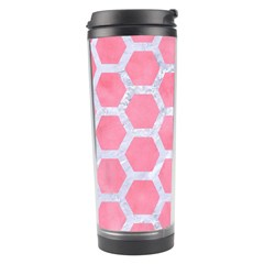 HEXAGON2 WHITE MARBLE & PINK WATERCOLOR Travel Tumbler