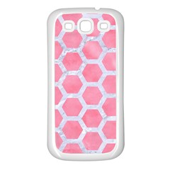 HEXAGON2 WHITE MARBLE & PINK WATERCOLOR Samsung Galaxy S3 Back Case (White)