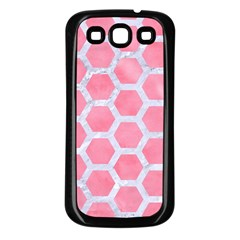 HEXAGON2 WHITE MARBLE & PINK WATERCOLOR Samsung Galaxy S3 Back Case (Black)