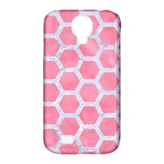 HEXAGON2 WHITE MARBLE & PINK WATERCOLOR Samsung Galaxy S4 Classic Hardshell Case (PC+Silicone)