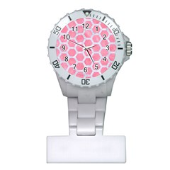 HEXAGON2 WHITE MARBLE & PINK WATERCOLOR Plastic Nurses Watch