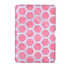 HEXAGON2 WHITE MARBLE & PINK WATERCOLOR Samsung Galaxy Tab 2 (10.1 ) P5100 Hardshell Case