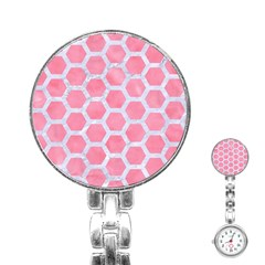 HEXAGON2 WHITE MARBLE & PINK WATERCOLOR Stainless Steel Nurses Watch