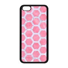 HEXAGON2 WHITE MARBLE & PINK WATERCOLOR Apple iPhone 5C Seamless Case (Black)