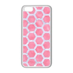 HEXAGON2 WHITE MARBLE & PINK WATERCOLOR Apple iPhone 5C Seamless Case (White)