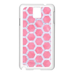 HEXAGON2 WHITE MARBLE & PINK WATERCOLOR Samsung Galaxy Note 3 N9005 Case (White)