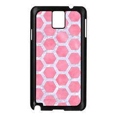 HEXAGON2 WHITE MARBLE & PINK WATERCOLOR Samsung Galaxy Note 3 N9005 Case (Black)