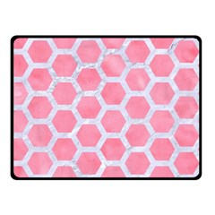 HEXAGON2 WHITE MARBLE & PINK WATERCOLOR Double Sided Fleece Blanket (Small)
