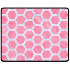 HEXAGON2 WHITE MARBLE & PINK WATERCOLOR Double Sided Fleece Blanket (Medium)