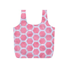 HEXAGON2 WHITE MARBLE & PINK WATERCOLOR Full Print Recycle Bags (S)