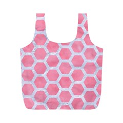 HEXAGON2 WHITE MARBLE & PINK WATERCOLOR Full Print Recycle Bags (M)