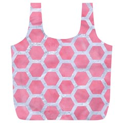 HEXAGON2 WHITE MARBLE & PINK WATERCOLOR Full Print Recycle Bags (L)