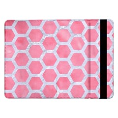 HEXAGON2 WHITE MARBLE & PINK WATERCOLOR Samsung Galaxy Tab Pro 12.2  Flip Case