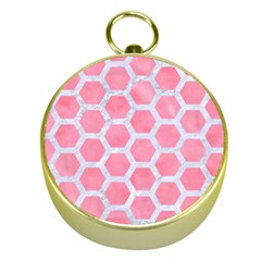HEXAGON2 WHITE MARBLE & PINK WATERCOLOR Gold Compasses