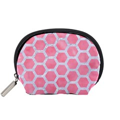 HEXAGON2 WHITE MARBLE & PINK WATERCOLOR Accessory Pouches (Small)