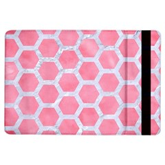 HEXAGON2 WHITE MARBLE & PINK WATERCOLOR iPad Air Flip