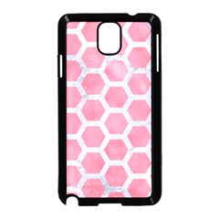 HEXAGON2 WHITE MARBLE & PINK WATERCOLOR Samsung Galaxy Note 3 Neo Hardshell Case (Black)
