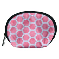 HEXAGON2 WHITE MARBLE & PINK WATERCOLOR Accessory Pouches (Medium)
