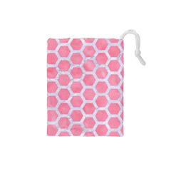 HEXAGON2 WHITE MARBLE & PINK WATERCOLOR Drawstring Pouches (Small)