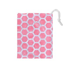 HEXAGON2 WHITE MARBLE & PINK WATERCOLOR Drawstring Pouches (Medium)