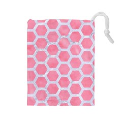 HEXAGON2 WHITE MARBLE & PINK WATERCOLOR Drawstring Pouches (Large)