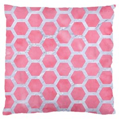 HEXAGON2 WHITE MARBLE & PINK WATERCOLOR Large Flano Cushion Case (One Side)