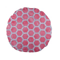 HEXAGON2 WHITE MARBLE & PINK WATERCOLOR Standard 15  Premium Flano Round Cushions
