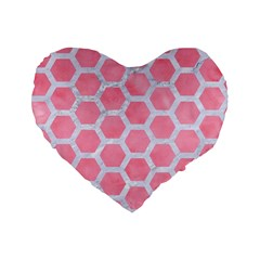 HEXAGON2 WHITE MARBLE & PINK WATERCOLOR Standard 16  Premium Flano Heart Shape Cushions