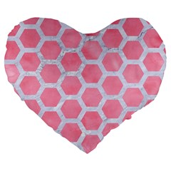HEXAGON2 WHITE MARBLE & PINK WATERCOLOR Large 19  Premium Flano Heart Shape Cushions