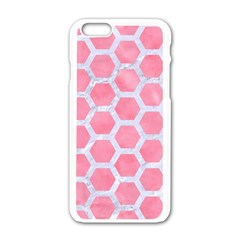 HEXAGON2 WHITE MARBLE & PINK WATERCOLOR Apple iPhone 6/6S White Enamel Case