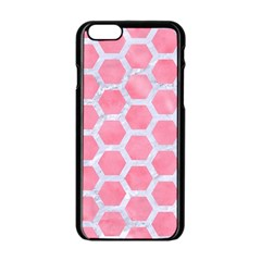 HEXAGON2 WHITE MARBLE & PINK WATERCOLOR Apple iPhone 6/6S Black Enamel Case