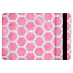 HEXAGON2 WHITE MARBLE & PINK WATERCOLOR iPad Air 2 Flip