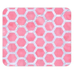 HEXAGON2 WHITE MARBLE & PINK WATERCOLOR Double Sided Flano Blanket (Small)