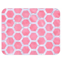 HEXAGON2 WHITE MARBLE & PINK WATERCOLOR Double Sided Flano Blanket (Medium)