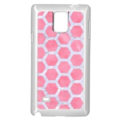 HEXAGON2 WHITE MARBLE & PINK WATERCOLOR Samsung Galaxy Note 4 Case (White)