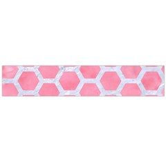 HEXAGON2 WHITE MARBLE & PINK WATERCOLOR Large Flano Scarf