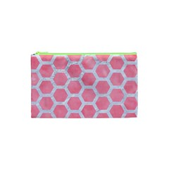 HEXAGON2 WHITE MARBLE & PINK WATERCOLOR Cosmetic Bag (XS)