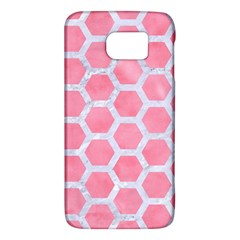 HEXAGON2 WHITE MARBLE & PINK WATERCOLOR Galaxy S6