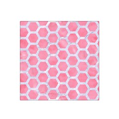 HEXAGON2 WHITE MARBLE & PINK WATERCOLOR Satin Bandana Scarf