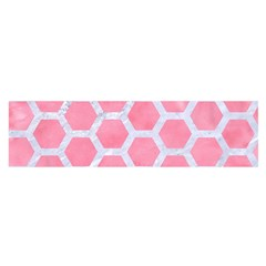 HEXAGON2 WHITE MARBLE & PINK WATERCOLOR Satin Scarf (Oblong)