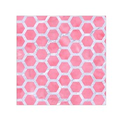 HEXAGON2 WHITE MARBLE & PINK WATERCOLOR Small Satin Scarf (Square)