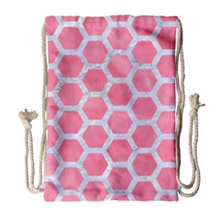 HEXAGON2 WHITE MARBLE & PINK WATERCOLOR Drawstring Bag (Large)